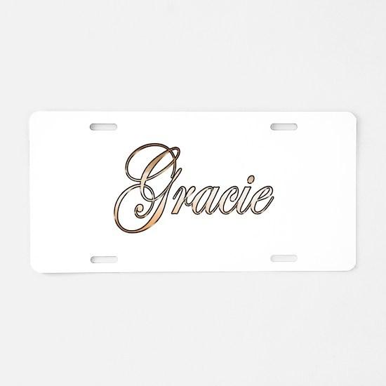 Gold Gracie Aluminum License Plate