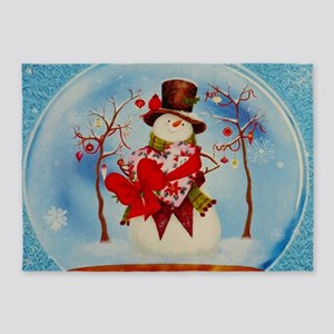 Snowman in a Snowglobe 5'x7'Area Rug