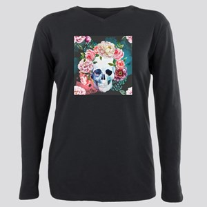 Flowers and Skull Plus Size Long Sleeve Tee