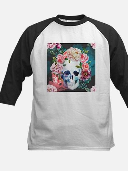 Flowers and Skull Kids Baseball Jersey