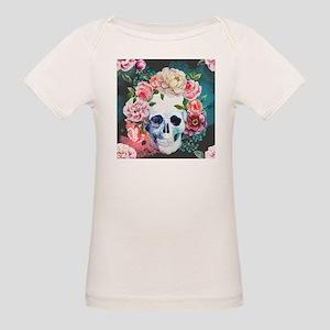 Flowers and Skull Organic Baby T-Shirt