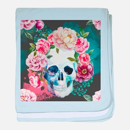 Flowers and Skull baby blanket