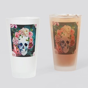 Flowers and Skull Drinking Glass