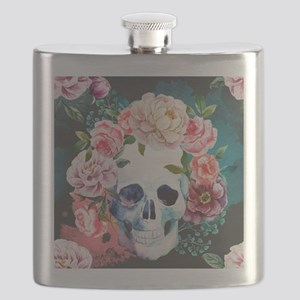 Flowers and Skull Flask