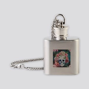 Flowers and Skull Flask Necklace