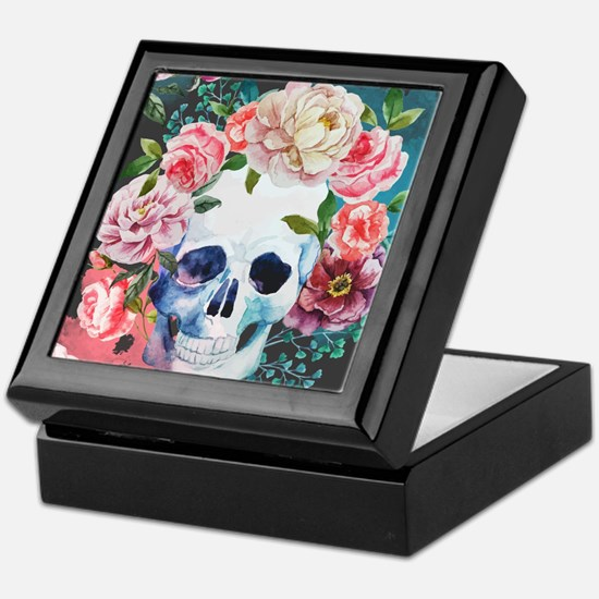 Flowers and Skull Keepsake Box