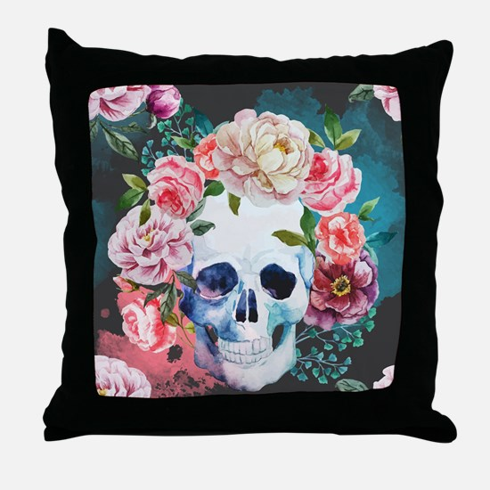 Flowers and Skull Throw Pillow