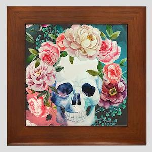 Flowers and Skull Framed Tile