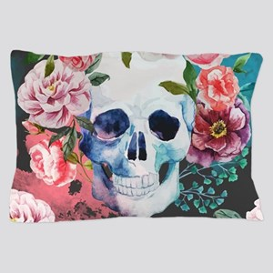 Flowers and Skull Pillow Case