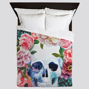 Flowers and Skull Queen Duvet