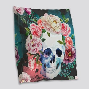 Flowers and Skull Burlap Throw Pillow