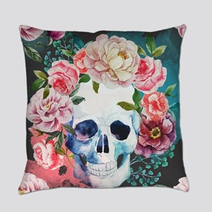 Flowers and Skull Everyday Pillow