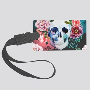 Flowers and Skull Large Luggage Tag