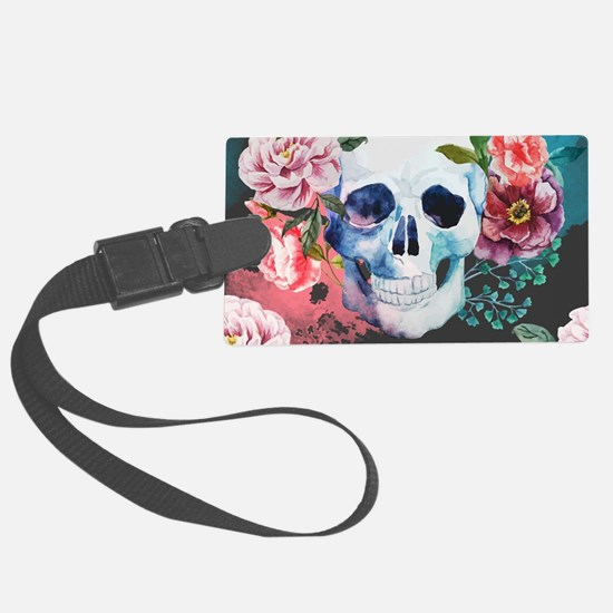 Flowers and Skull Luggage Tag