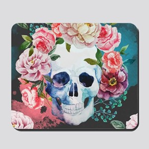 Flowers and Skull Mousepad