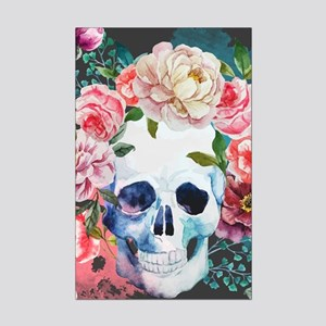 Flowers and Skull Mini Poster Print