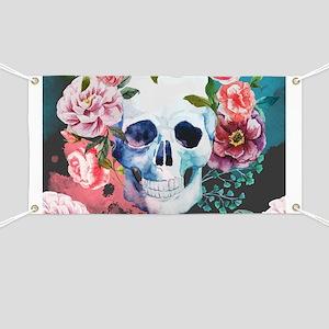 Flowers and Skull Banner