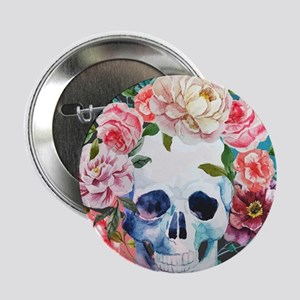 """Flowers and Skull 2.25"""" Button (10 pack)"""