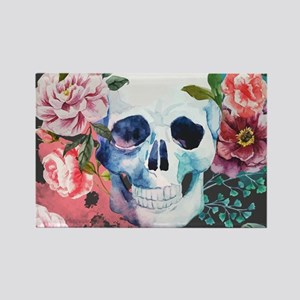 Flowers and Skull Rectangle Magnet