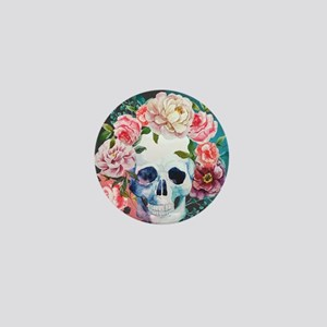 Flowers and Skull Mini Button
