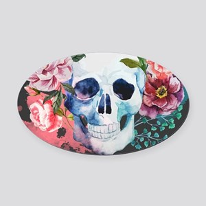 Flowers and Skull Oval Car Magnet