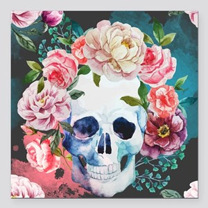 """Flowers and Skull Square Car Magnet 3"""" x 3"""""""