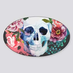 Flowers and Skull Sticker (Oval)