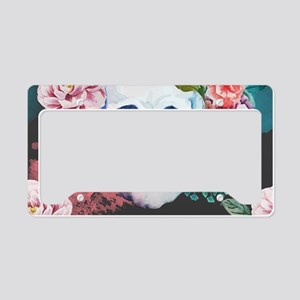 Flowers and Skull License Plate Holder