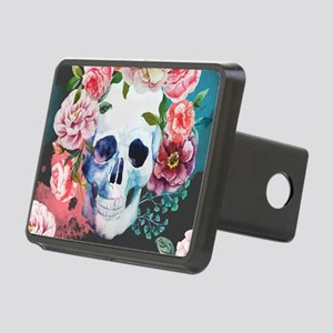 Flowers and Skull Rectangular Hitch Cover