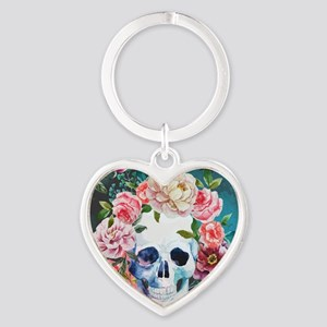 Flowers and Skull Heart Keychain