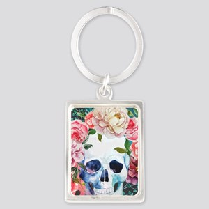 Flowers and Skull Portrait Keychain