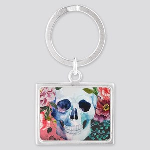 Flowers and Skull Landscape Keychain