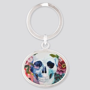Flowers and Skull Oval Keychain
