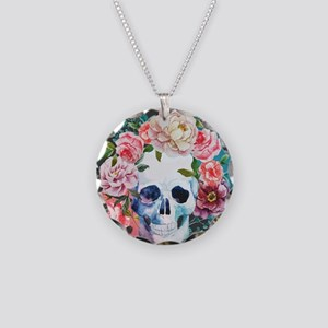Flowers and Skull Necklace Circle Charm