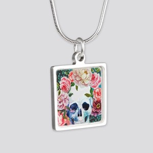 Flowers and Skull Silver Square Necklace