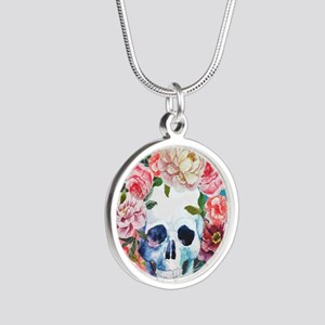 Flowers and Skull Silver Round Necklace