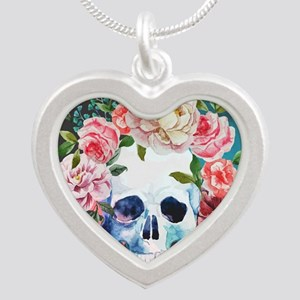 Flowers and Skull Silver Heart Necklace