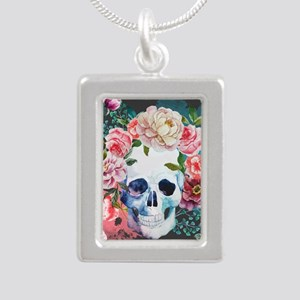 Flowers and Skull Silver Portrait Necklace