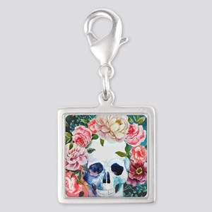 Flowers and Skull Silver Square Charm