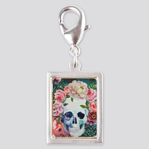 Flowers and Skull Silver Portrait Charm