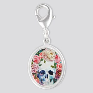 Flowers and Skull Silver Oval Charm