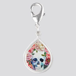 Flowers and Skull Silver Teardrop Charm
