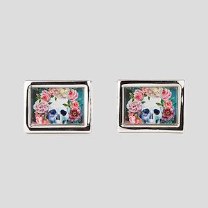 Flowers and Skull Rectangular Cufflinks