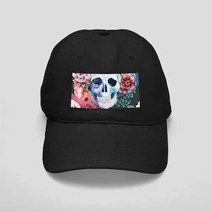 Flowers and Skull Black Cap
