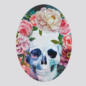 Flowers and Skull Oval Ornament