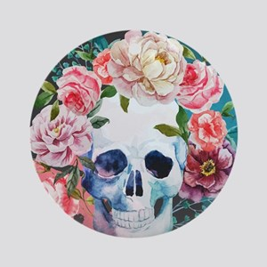 Flowers and Skull Round Ornament