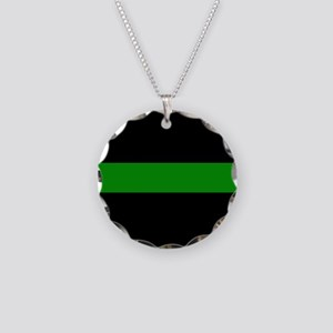 The Thin Green Line Necklace Circle Charm