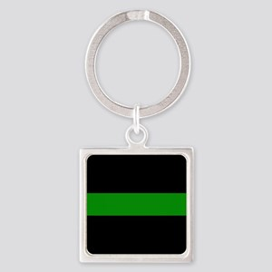 The Thin Green Line Square Keychain