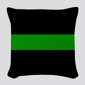 The Thin Green Line Woven Throw Pillow