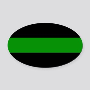 The Thin Green Line Oval Car Magnet